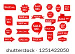 set of red sale icon banners in ... | Shutterstock .eps vector #1251422050