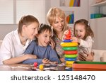portrait of happy family... | Shutterstock . vector #125148470