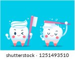 Cute Tooth Characters Holding...