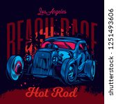 neon american classic hot rod.... | Shutterstock .eps vector #1251493606