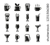 drinks vector icons set black...