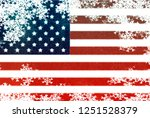 usa flag snowflake background | Shutterstock . vector #1251528379