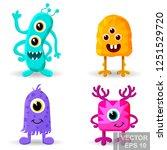 monster. cartoon style. funny.... | Shutterstock .eps vector #1251529720