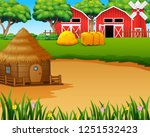 farm landscape with shed... | Shutterstock .eps vector #1251532423