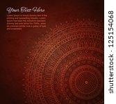 half of mandala on dark red... | Shutterstock .eps vector #125154068