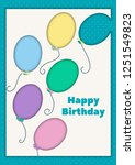 postcard with colorful balloons....   Shutterstock .eps vector #1251549823