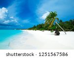 tropical beach in maldives with ... | Shutterstock . vector #1251567586