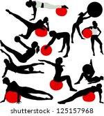 pilates women silhouettes  ... | Shutterstock .eps vector #125157968