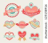 valentine s day set   labels... | Shutterstock .eps vector #125158916