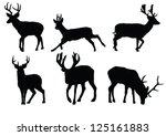 The Set Of Deer Silhouette