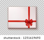 box with red satin bow isolated ... | Shutterstock .eps vector #1251619693