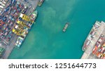 container ship in export and... | Shutterstock . vector #1251644773