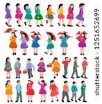 set  collection of faceless kids | Shutterstock .eps vector #1251652699