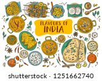 hand drawn indian food  vector... | Shutterstock .eps vector #1251662740