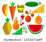drawn tropical fruits ... | Shutterstock .eps vector #1251671689