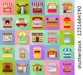 street food kiosk icons set.... | Shutterstock . vector #1251684190
