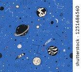 space seamless pattern. cartoon ... | Shutterstock . vector #1251686560