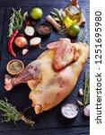 raw whole free range turkey... | Shutterstock . vector #1251695980