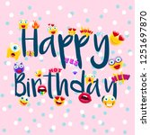 happy birthday poster or... | Shutterstock .eps vector #1251697870