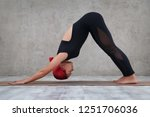 a girl with pink hair does yoga ... | Shutterstock . vector #1251706036