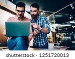 young caucasian partners... | Shutterstock . vector #1251720013