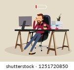 tired man at work | Shutterstock . vector #1251720850