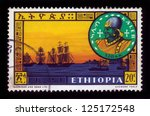 Small photo of ETHIOPIA - CIRCA 1962 : A stamp printed in Ethiopia shows portrait of ethiopian rulers, king Kaleb and fleet in Adulis port , with the inscription in Amharic , series, circa 1962