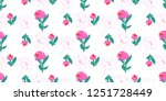 seamless flowers pattern with... | Shutterstock .eps vector #1251728449