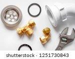 concept plumbing work top view...   Shutterstock . vector #1251730843
