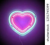 bright heart. neon sign. retro... | Shutterstock .eps vector #1251745399