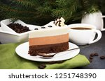 three chocolate mousse cake... | Shutterstock . vector #1251748390