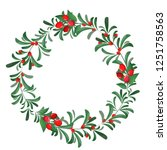 vector christmas wreath of red... | Shutterstock .eps vector #1251758563