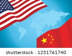 flags of usa and china vector | Shutterstock .eps vector #1251761740