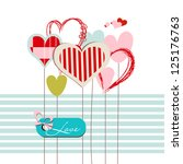 hearts greeting card with love...   Shutterstock .eps vector #125176763