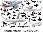 big set of airplanes in vector...