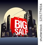 big sale shopping bag in night... | Shutterstock . vector #1251774016