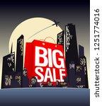 big sale shopping bag in night... | Shutterstock . vector #1251774016