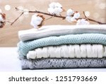 stack  knitted clothes with... | Shutterstock . vector #1251793669