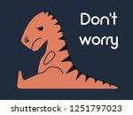 orange dinosaur sitting... | Shutterstock .eps vector #1251797023