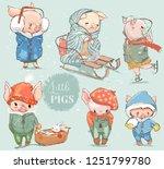 cute lovely cartoon pigs... | Shutterstock .eps vector #1251799780