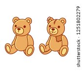 toy teddy bear  new and old... | Shutterstock .eps vector #1251802279
