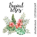 tropical vibes illustration | Shutterstock . vector #1251816169