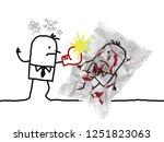 cartoon violent man hitting... | Shutterstock . vector #1251823063