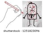 cartoon hand making scribbles... | Shutterstock . vector #1251823096