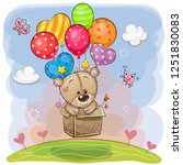 cute cartoon teddy bear in the... | Shutterstock .eps vector #1251830083