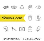 pack icons set with bag  audio...