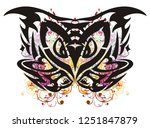 awful colorful owl head...   Shutterstock .eps vector #1251847879