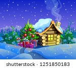christmas tree with wooden... | Shutterstock .eps vector #1251850183