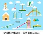 children's playground in winter ...   Shutterstock .eps vector #1251889363