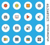 multimedia icons colored line... | Shutterstock . vector #1251895759